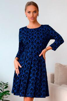 Синее жаккардовое платье Open-Style
